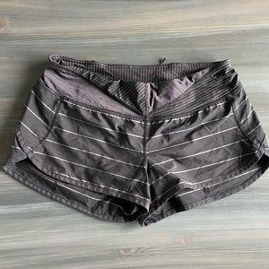 Lululemon Speed Shorts Grey Black White Stripe